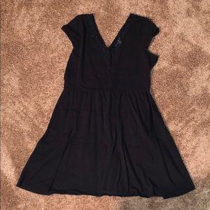 Gray lace neck sun dress